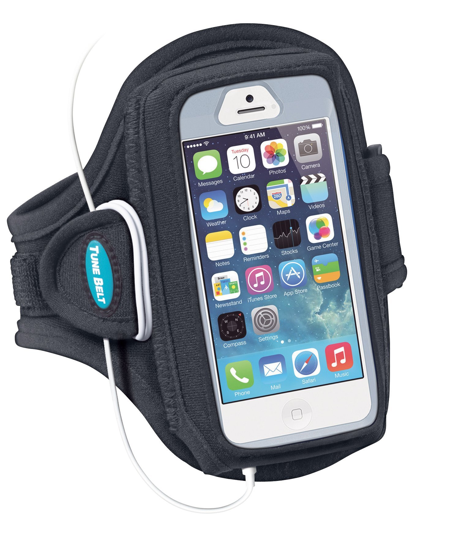 Armband for iPhone SE, 5, 5s, 5c, 4, 4S with OtterBox Defender, Commuter or Other Large Case – Great for Running & Working Out [Black] by Tune Belt (Image #3)
