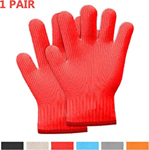 Killer's Instinct Outdoors 1 Pair Heat Resistant Gloves Oven Gloves Heat Resistant with Fingers Red Oven Mitts Kitchen Pot Holders Cotton Gloves Red Kitchen Gloves Double Oven Mitt Set (2 pcs)