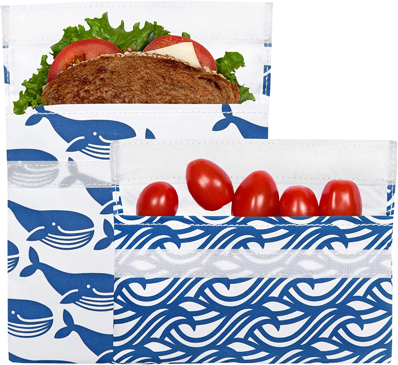 Lunchskins Reusable 2 Piece Food Storage Bag Set, 1 Sandwich Bag + 1 Snack Bag, Blue Whale