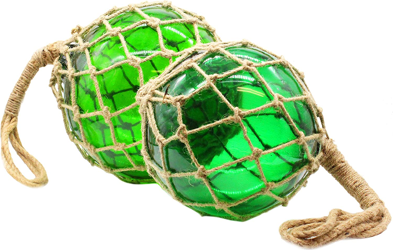 Green Nautical Home Decor Beach Set Decorative Fishing Float Balls Fish Net Buoys Coastal Glass Ball Decor Japanese Art Tiki Glasses Decoration Hanging Ocean Themed Orbs Well Pack Box 1, Medium