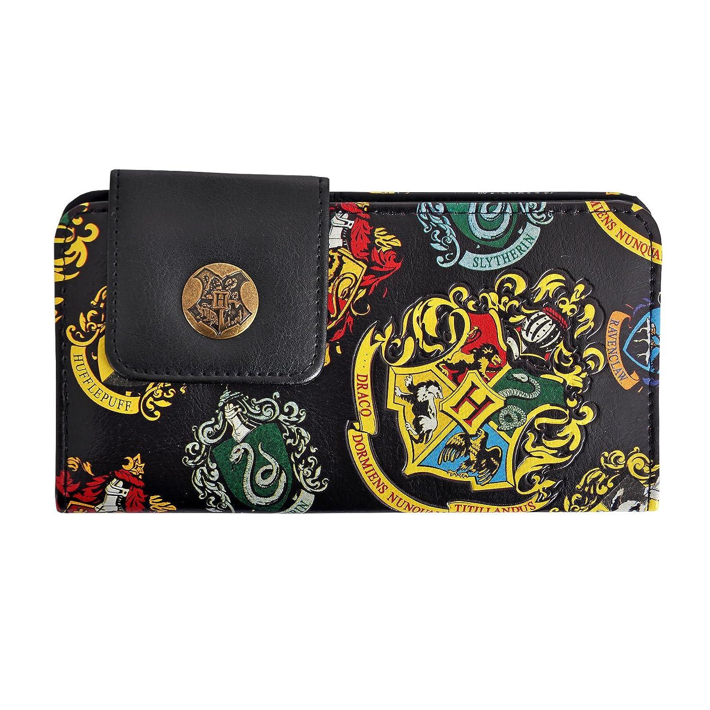HARRY POTTER Hogwarts Portafoglio Nero con Le Case Crest Portafoglio Elbenwald