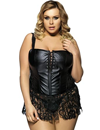 fa9371da705 Women s Plus Size Faux Leather and Venice Lace Corset Sexy Lingerie (Tag  size S (