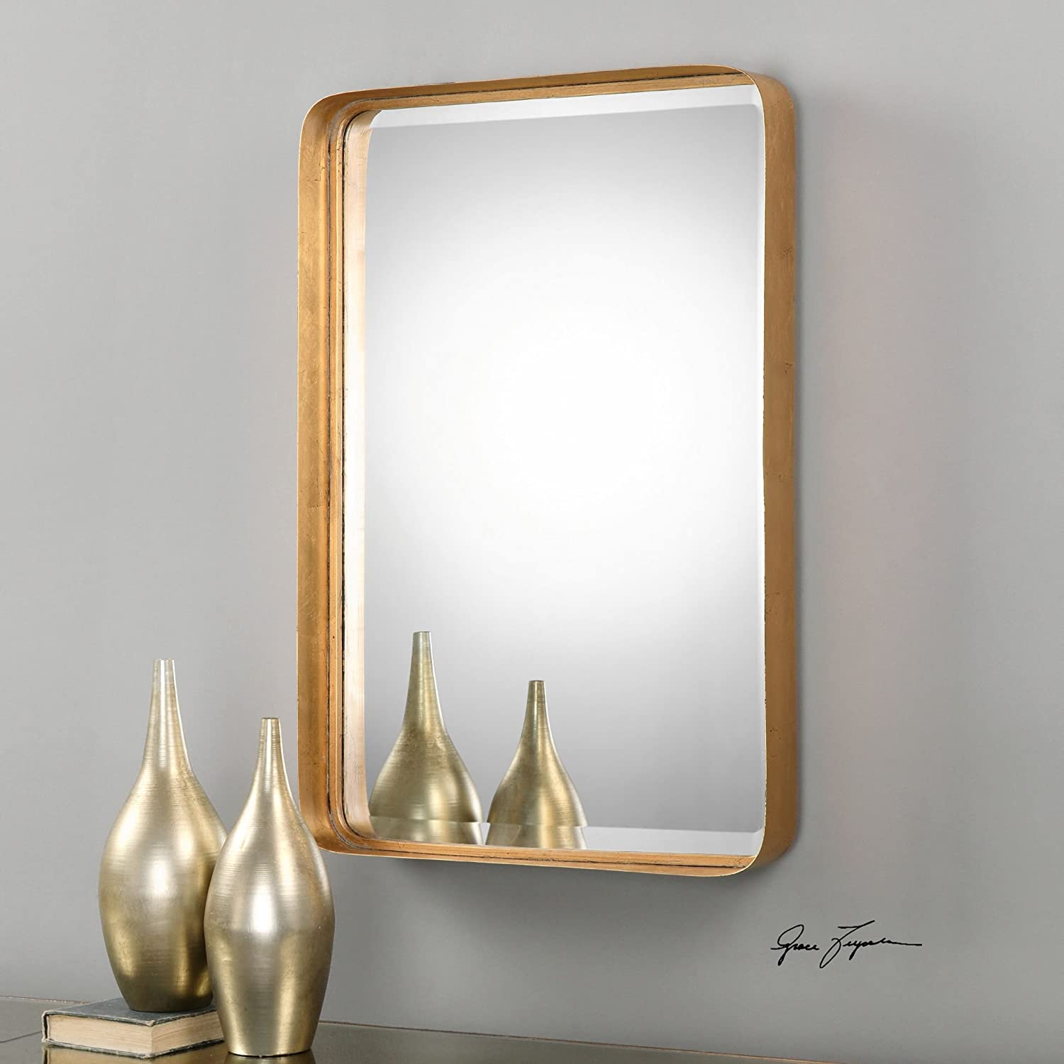 Amazon Com My Swanky Home Classic Contemporary Gold Metal Wall Mirror Vanity Rectangle Deep Frame Home Kitchen