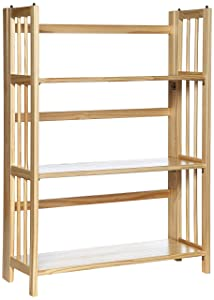 Yu Shan 3 Shelf Folding Stackable Bookcase, Natural