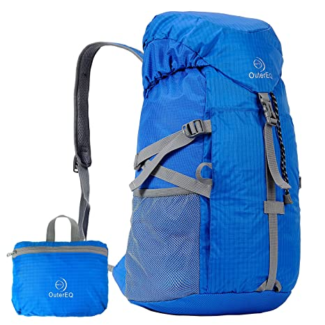 575d09205e OuterEQ 38L Packable Travel Backpack Daypack For Camping   Hiking (Blue)