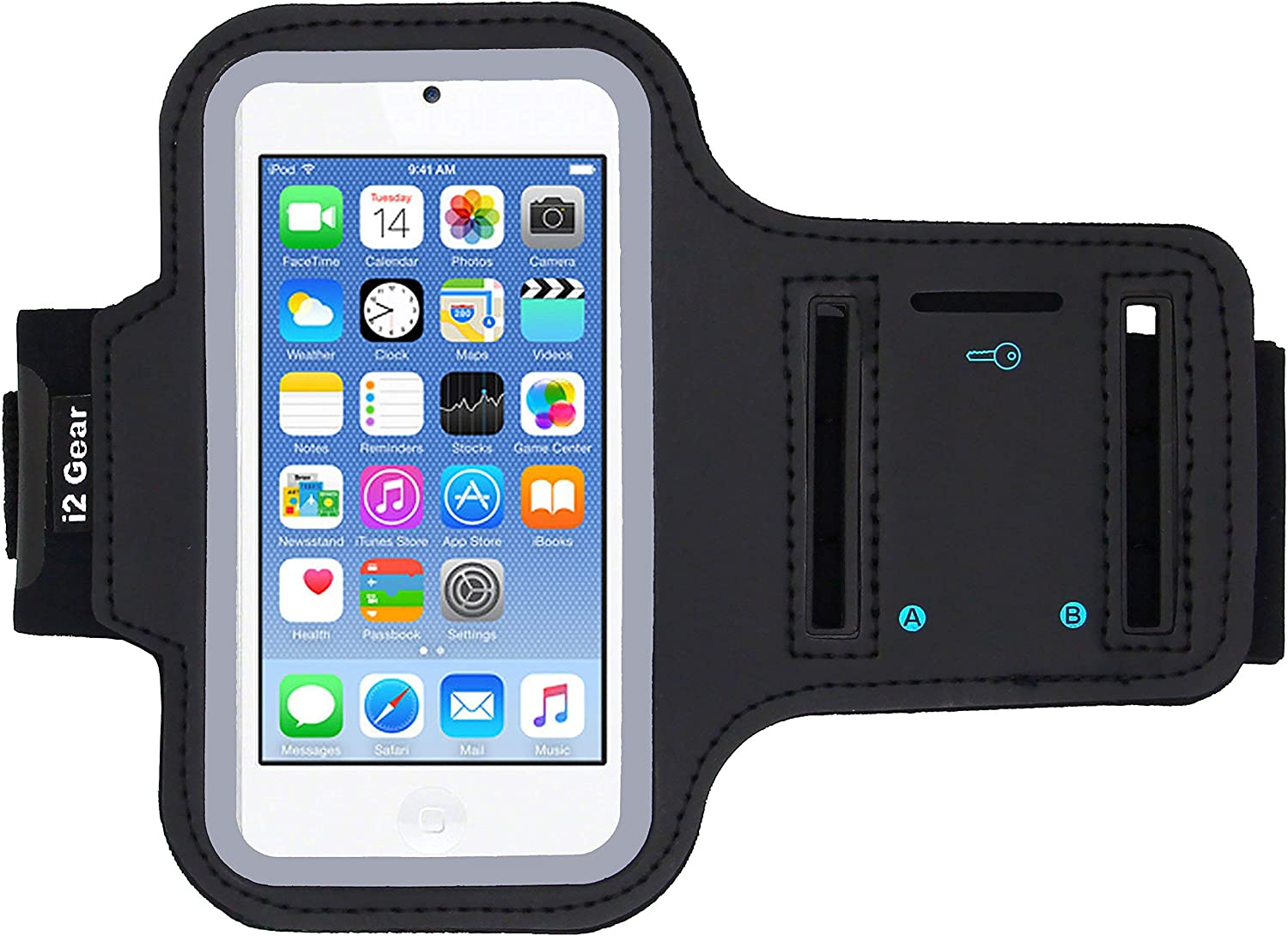 i2 Gear Running Exercise Armband for iPod Touch 7th, 6th and 5th Generation Devices with Reflective Border and Key Holder (Black)