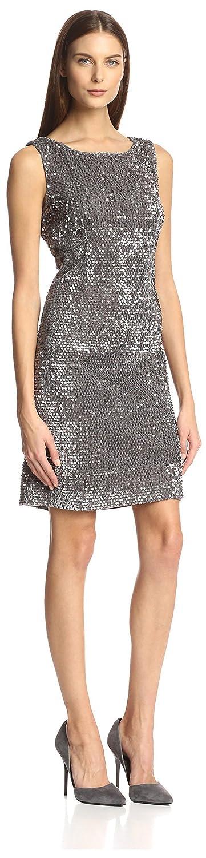 Silver Chetta B Womens Sequin Sheath Dress 4 US