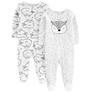 Simple Joys by Carter's Baby Neutral 2-Pack Cotton Footed Sleep and Play, sheep/owl, 3-6 Months