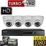 4x 1080P FULL HD DOME 2.4MP HIKVISION CCTV SYSTEM DVR 4CH HDMI P2P REMOTE VIEW 2TB WHITE DOME