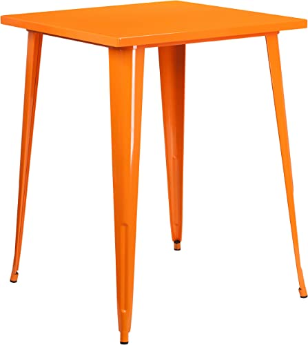 Flash Furniture 31.5 Square Orange Metal Indoor-Outdoor Bar Height Table