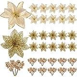 KUUQA 30PCS クリスマスツリー飾り オーナメント 造花 クリスマスリース クリスマス花輪 玄関 飾り ベリー(ゴールド)
