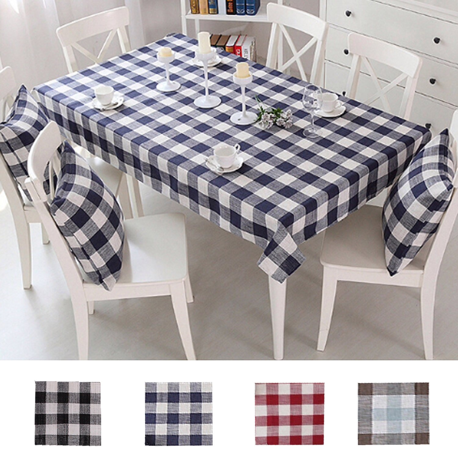 Queenie - 1 Pc Country Style Checkers Plaids Cotton Linen Table Cloth Available in 4 Colors and 5 Sizes (Navy Blue, 55 x 79 inch (140 x 200 cm))