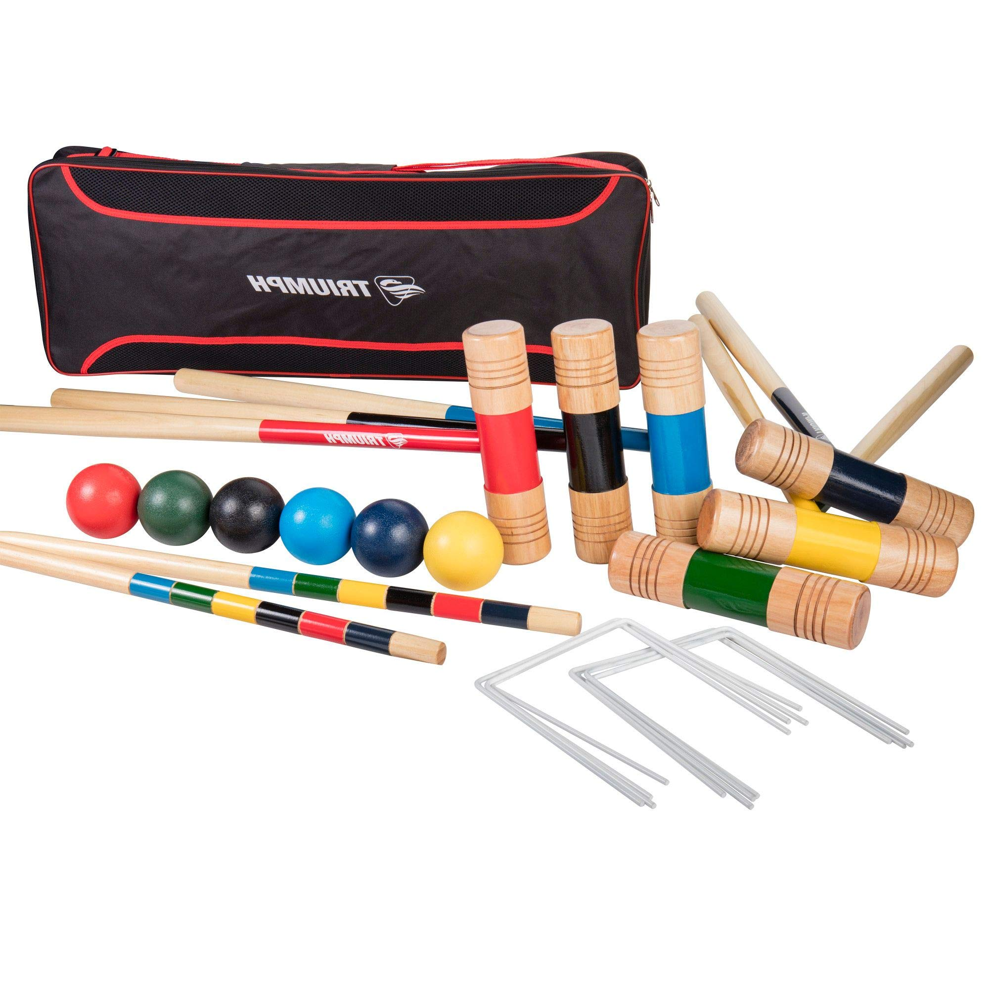 HealthyBells 6-Player All Pro Backyard Croquet Set with 6 Wood Mallets, Balls, and Carry Bag