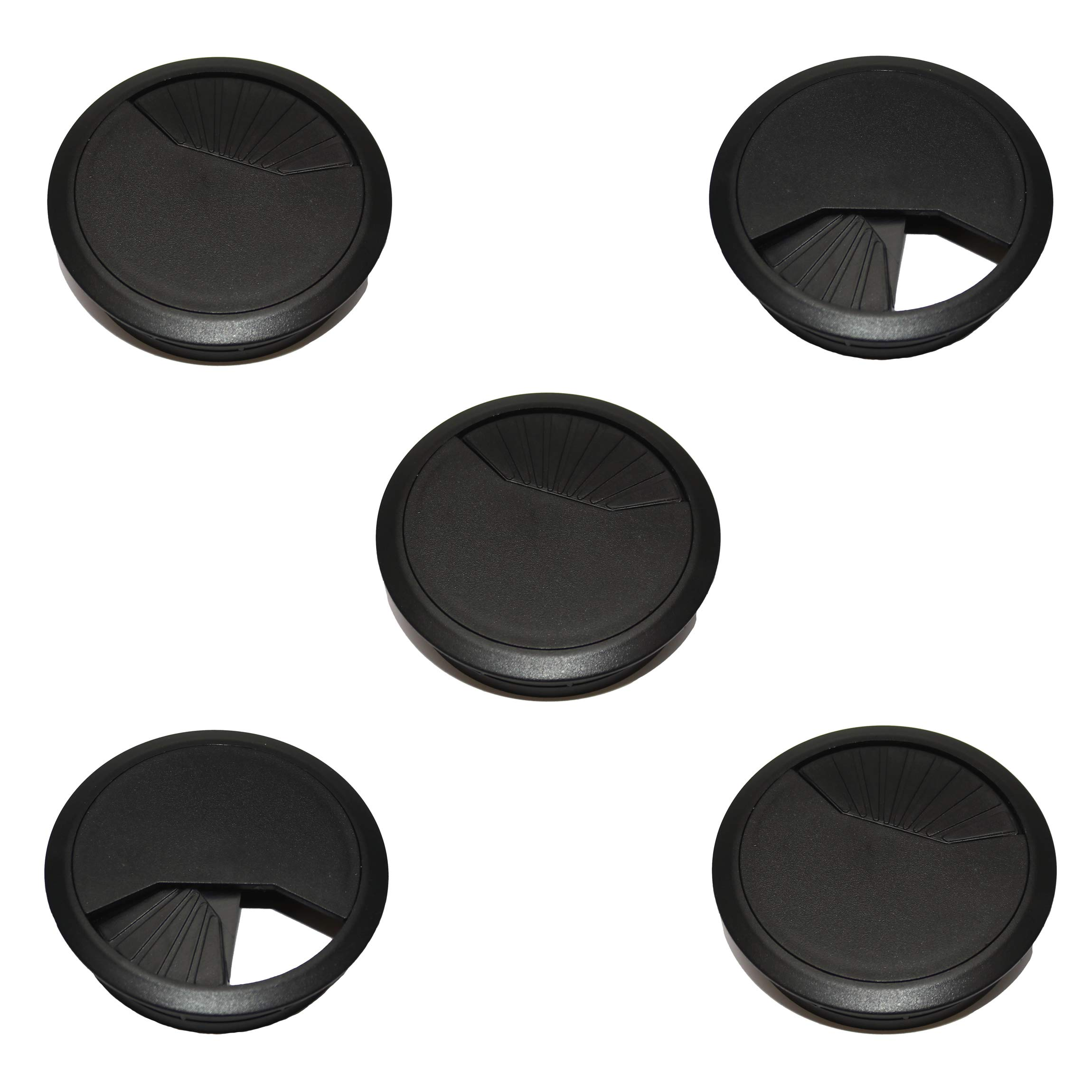 TCH Hardware 5 Pack Desk Cable Grommet 3 1/8'' Black Plastic - Office Computer Table Wire Cover by TCH (Image #1)