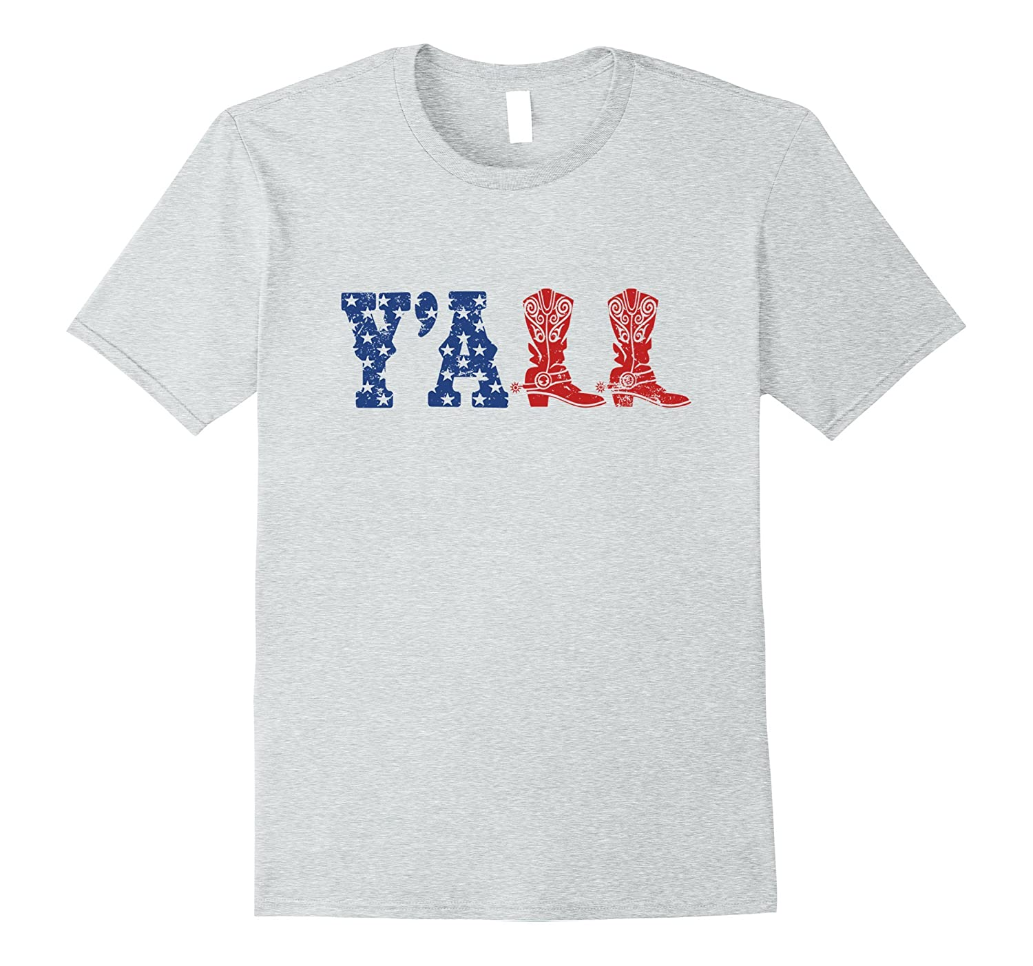Y'ALL T-Shirt American Flag Western Country Cowgirl Tee-TH