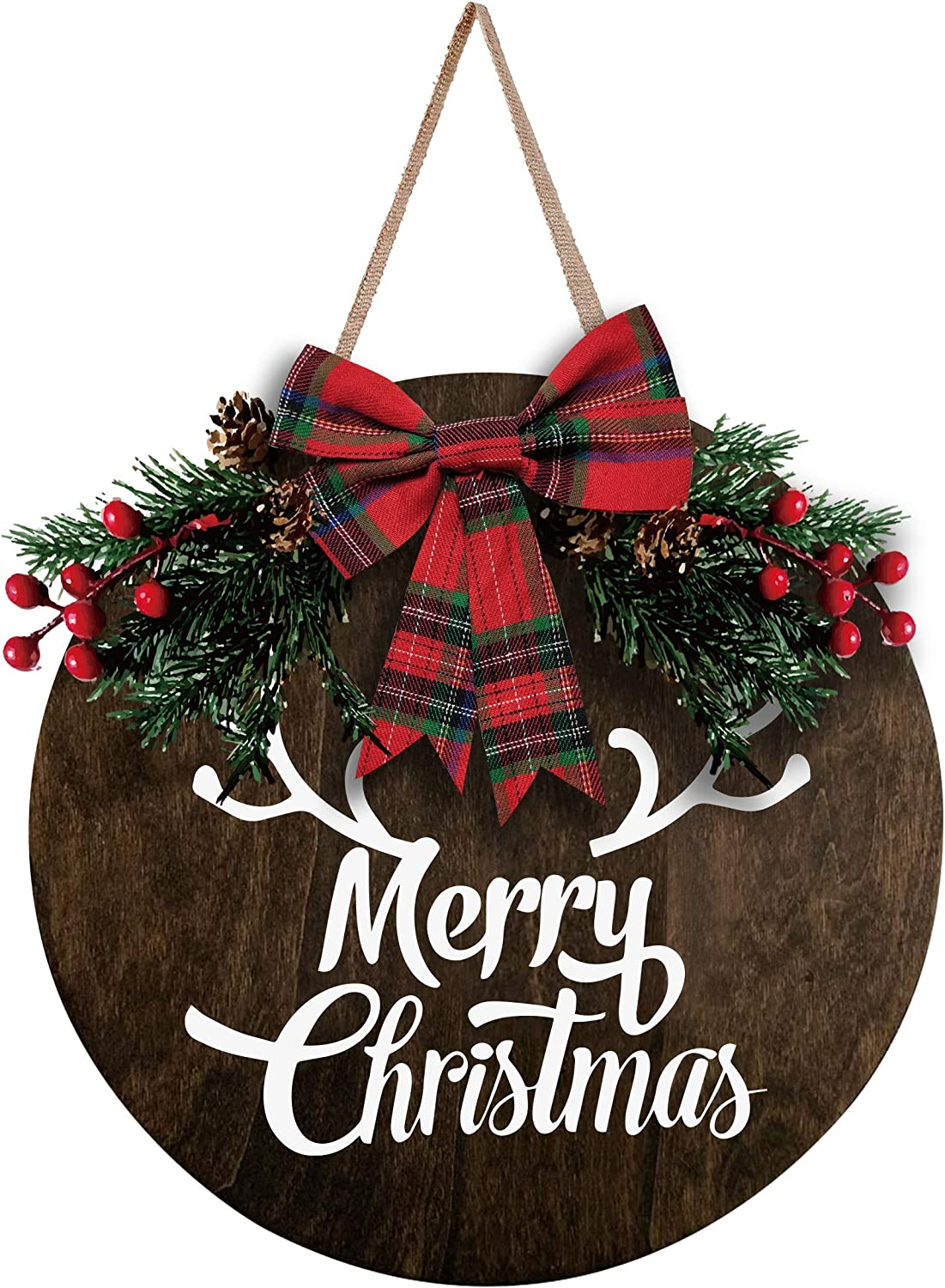 MayAvenue Merry Christmas Wreaths Decor Sign Front Door, Round Wood Hanging Sign with Ribbon Bow and Artificial Pine Branches Green Leaves Farmhouse Porch Decorations for Home Christmas, Brown