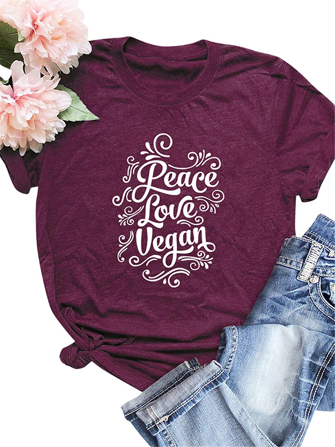 Festnight Women Funny T-Shirt Casual Cotton Shirt Peace Love Vegan Print Short Sleeve Tee Tops O-Neck Loose Plus Size Blouse