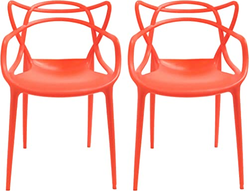 Mod Made Ergo Furnishings Mid-Century Molded Plastic Curve Dining Set of 2 Chair
