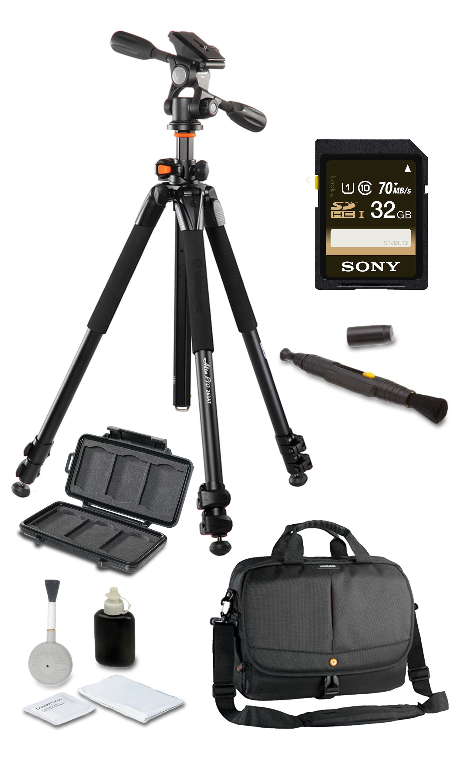 Vanguard Alta Pro 263AP Deluxe Bundle + Vanguard 2GO 33 Messenger Bag + SONY 32GB SD Card + Cleaning Kit 4pc + Lens Pen Cleaning Brush + Memory Card Wallet + Much More!