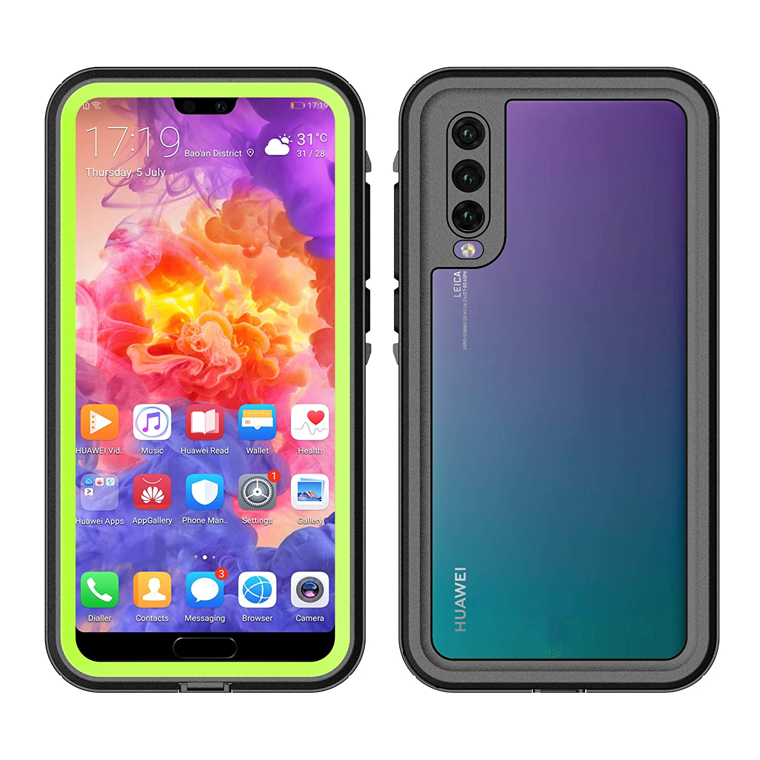 3C-LIFE P20-compatible Armor Case Waterproof Shockproof Dustproof Heavy Duty Full Body Protective Case for HuaweiP20 Pro Black