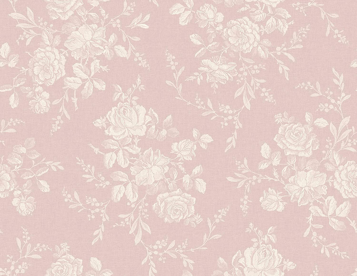 Textile Floral Wallpaper In Rose Fg70201 From Wallquest