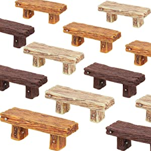 12 Pieces Miniature Benches Retro Resin Benches Mini Fairy Benches Fairy Garden Bonsai Decorations Dollhouse Benches Accessories for Home Office Desktop Micro Landscape Decorations