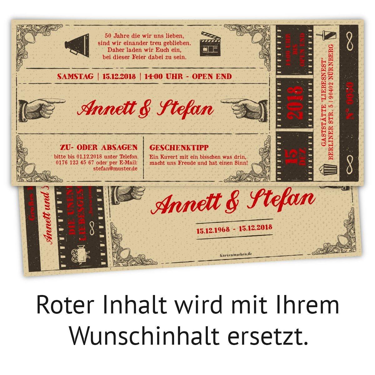 100 x Hochzeitseinladungen Goldhochzeit Goldene Hochzeit Einladung - Vintage Vintage Vintage Kinoticket B07G2L6DL4 | Elegant  | Charmantes Design  | Elegant und feierlich  82854e