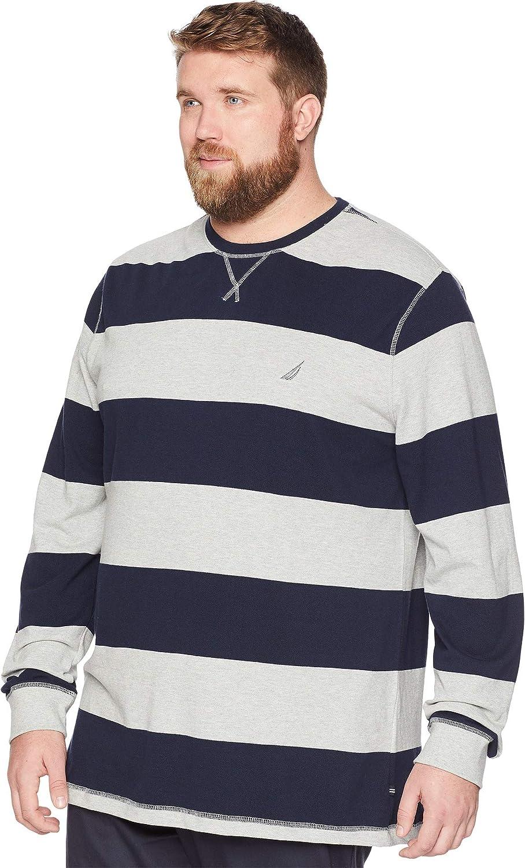 bba860c744 ... Nautica Mens Big Tall Long Sleeve Rugby Stripe Crewneck Polo Shirt  Z83106 ...