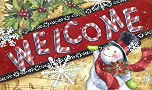 Toland Home Garden Candy Cane Snowman 18 x 30 Inch Decorative Floor Mat Holiday Welcome Christmas Snowflake Doormat - 800112