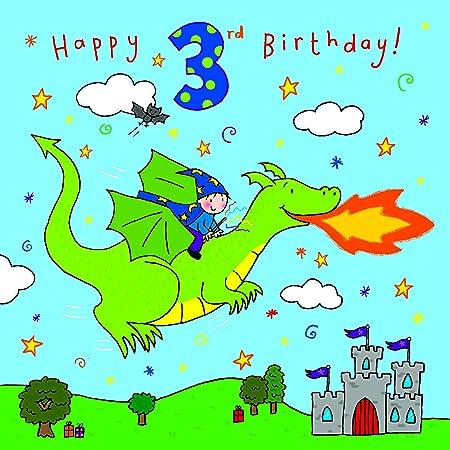 Twizler 3rd Birthday Card For Boy With Dragon Castle And Swarovski