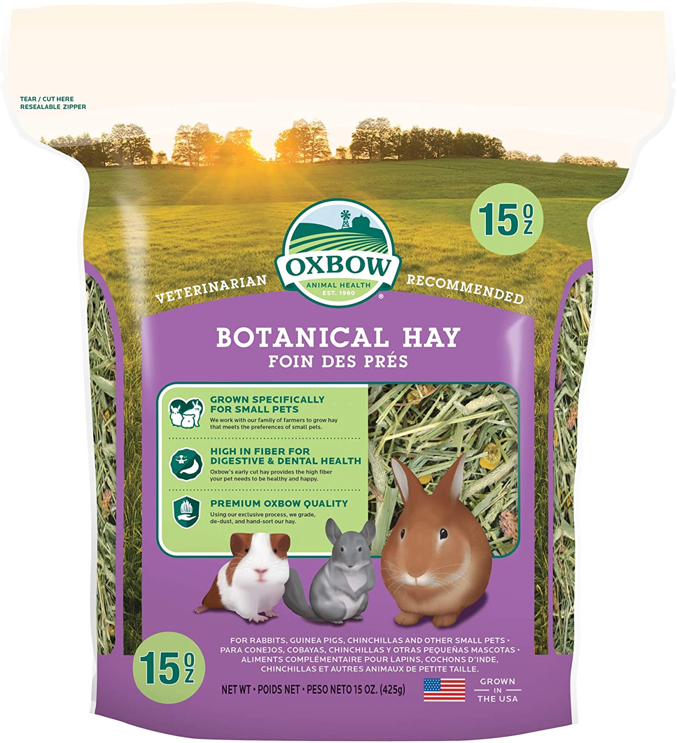 Oxbow Animal Health Oxbow Botanical Western Timothy Hay - All Natural Hay for Rabbits, Guinea Pigs, Chinchillas, Hamsters & Gerbils - 15 oz.