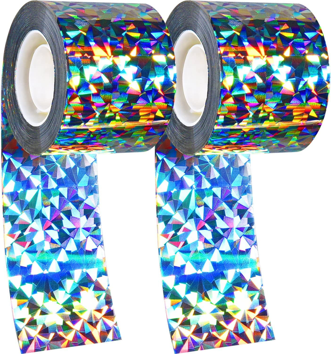 Boao 2 Pack Bird Repellent Device Bird Deterrent Tape Double-Sided Reflective Scare Bird Tape for Home, Garden and Farm, 565 Feet Long in Total