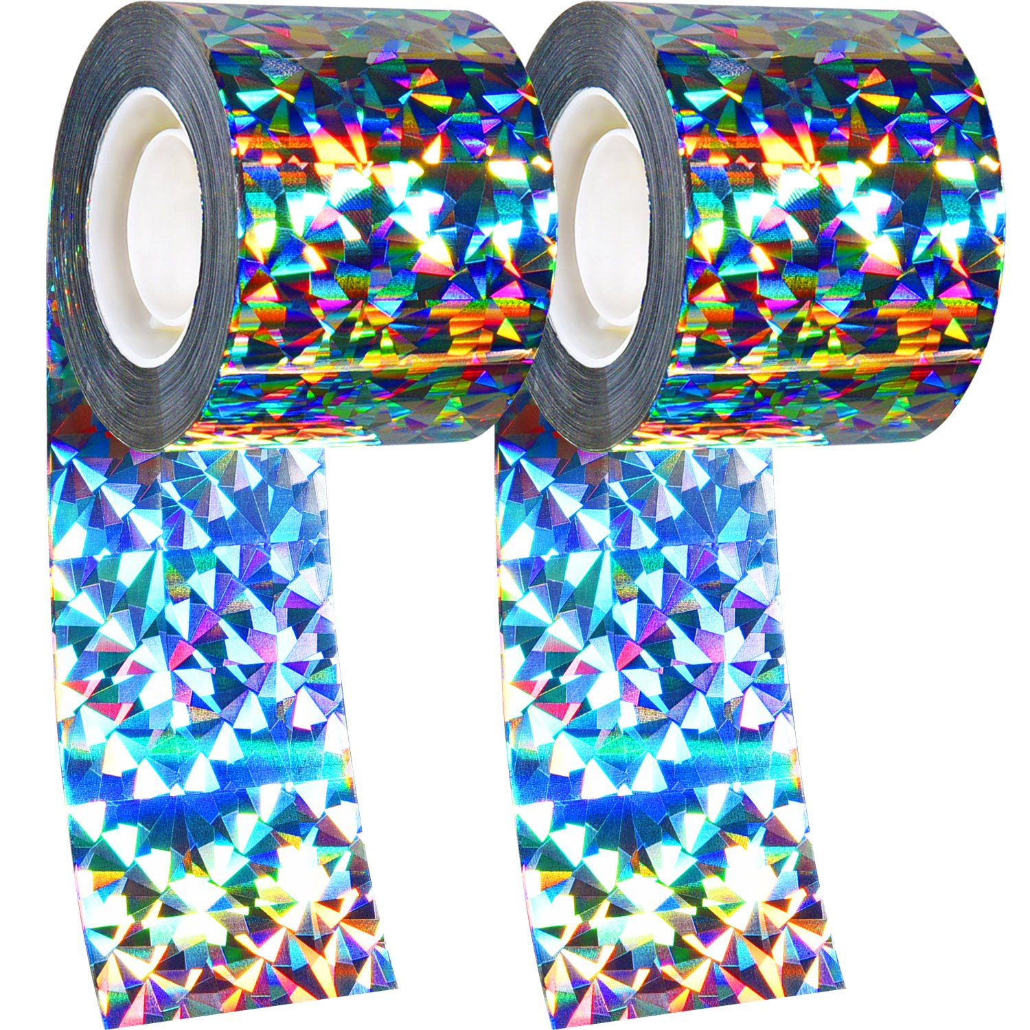 565 Feet Long in Total 2 Pack Bird Repellent Device Bird Deterrent Tape Double-sided Reflective Scare Bird Tape for Home Garden and Farm