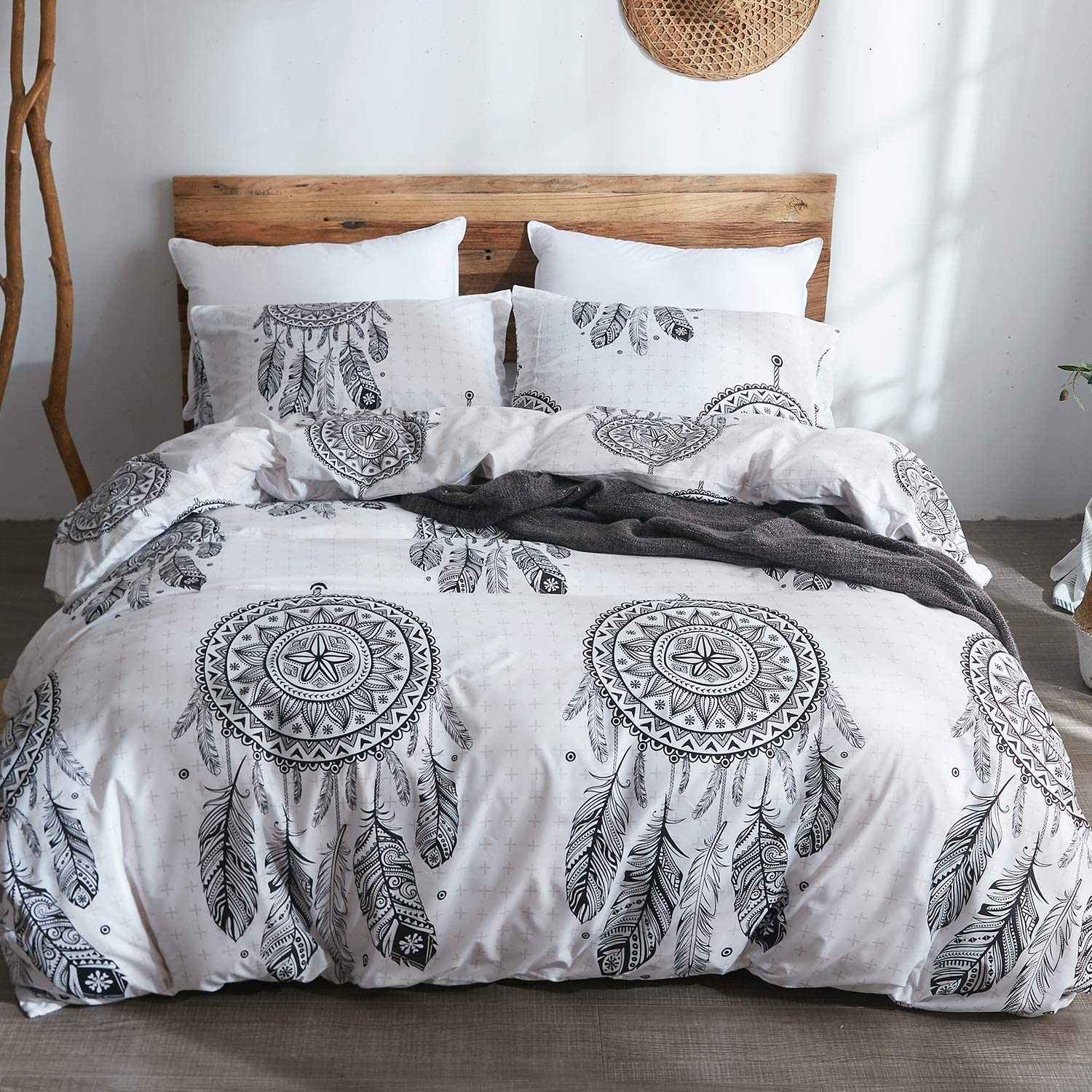 LAMEJOR Duvet Cover Set Queen Size Bohemian Dreamcatcher Pattern Luxury Soft Bedding Set Comforter Cover (1 Duvet Cover+2 Pillowcases) White