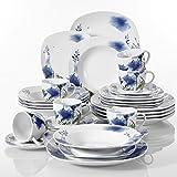 Veweet 'Laura' Porcelana de Vajilla 30 piezas   vajilla completa incluye 6 tazas de café 175ml, 6 platillo, 6 platos de postre,6 platos plano y 6 platos de sopa   vajilla para 6 personas