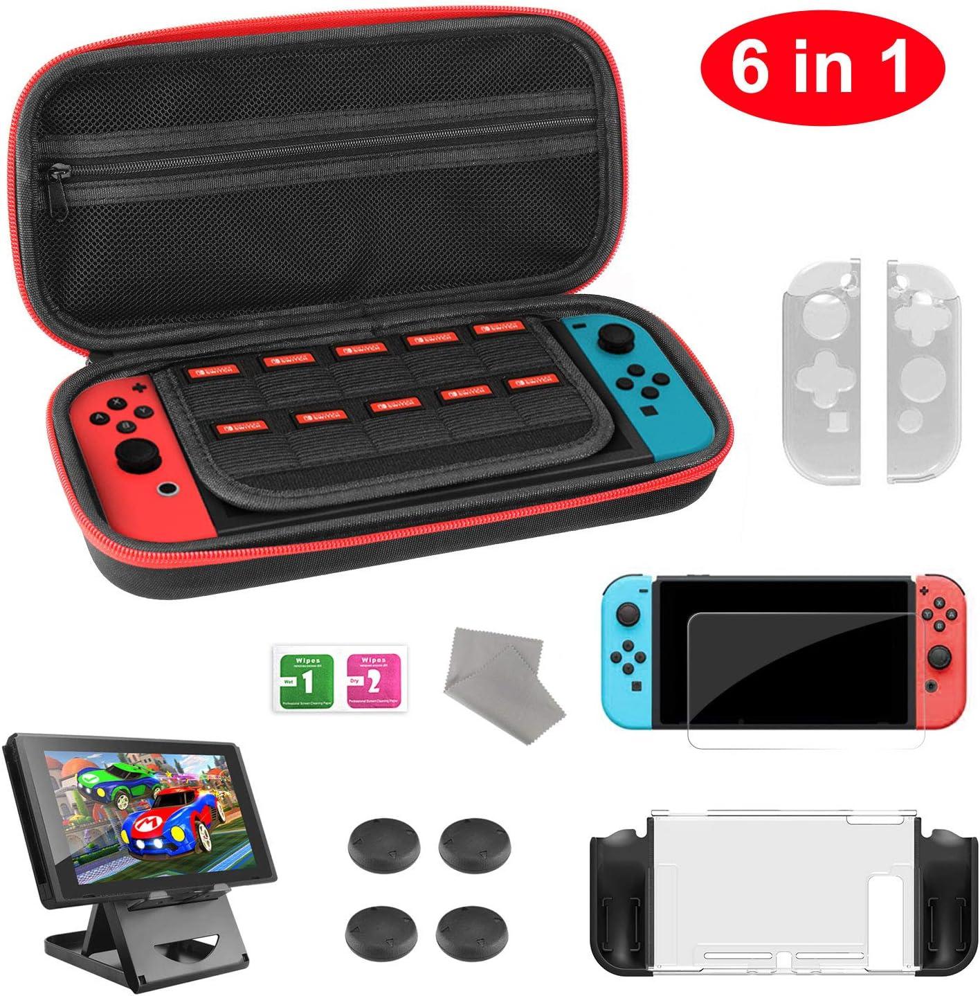 Molyhood - Kit de accesorios para Nintendo Switch con protector de pantalla de vidrio templado, carcasa protectora de TPU Joy-Con para Nintendo Switch, soporte plegable, y más: Amazon.es: Videojuegos