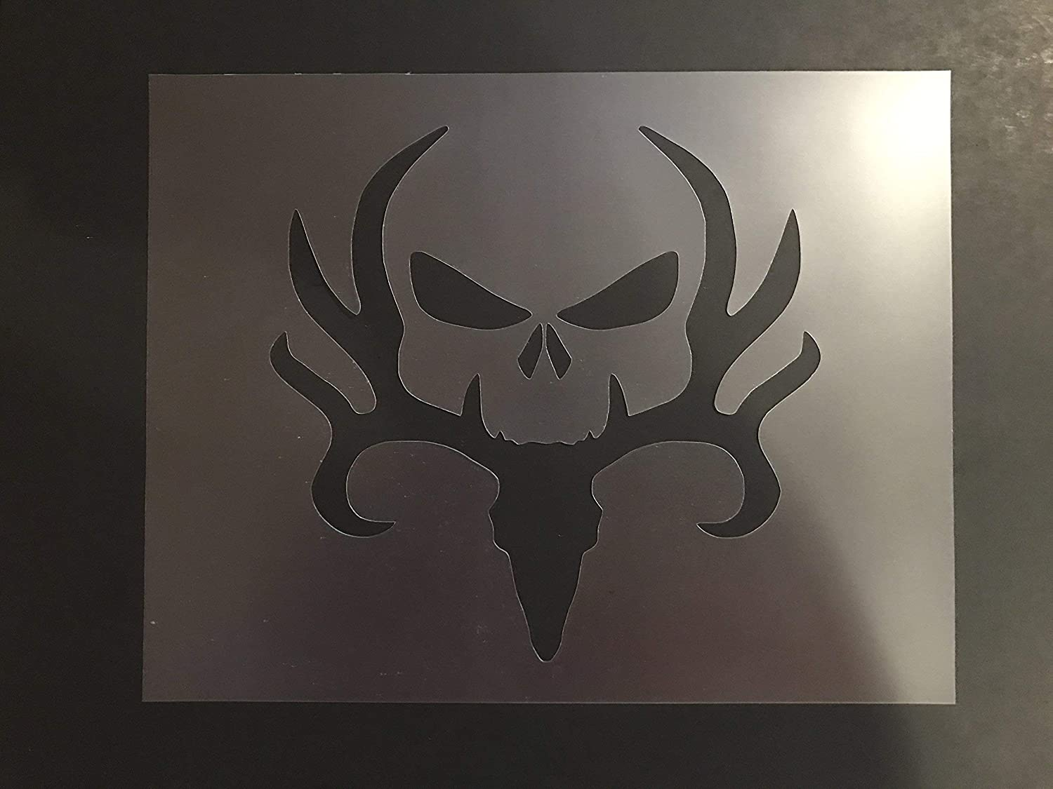 Deer and Skull Stencil #1 Reusable 10 mil Thick 8in x 10.5in sheet