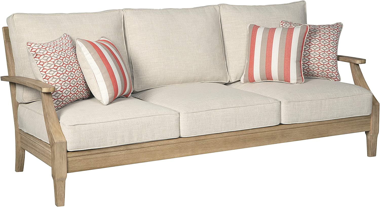 Signature Design by Ashley - Clare View Sofa with Cushion - Eucalyptus Wood Frame - Beige