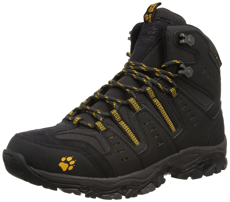 Noir (Burly jaune 3800) 45.5 EU Jack Wolfskin MTN Storm Texapore Mid M, Chaussures de Randonnée Hautes Homme