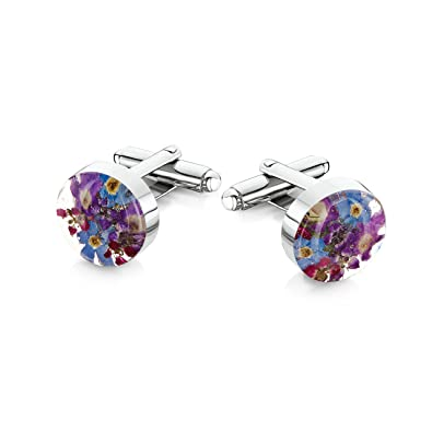 Sterling Silver Real Flower Stud Earrings - Forget-Me-Not - Round - in giftbox WRoM04