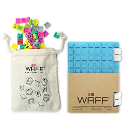 WAFF Soft, Silicone Covered Glitter Combo Notebook/Journal, Blue