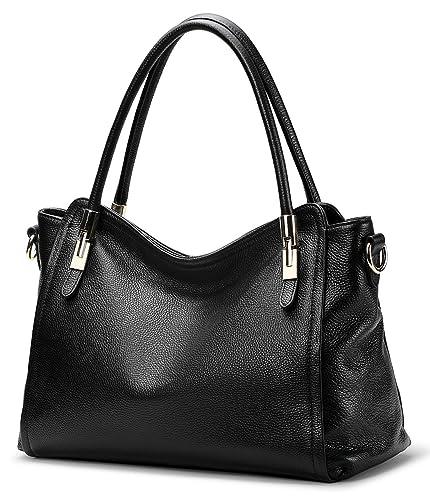 Women s Vintage Genuine Leather Handbag by COOLCY Tote Shoulder Bag for Ladies  Large Capacity (Black 8b33d97749cc6