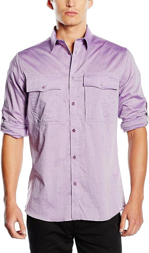 Versace Jeans Camisa Hombre Lila ES 48: Amazon.es: Ropa y ...