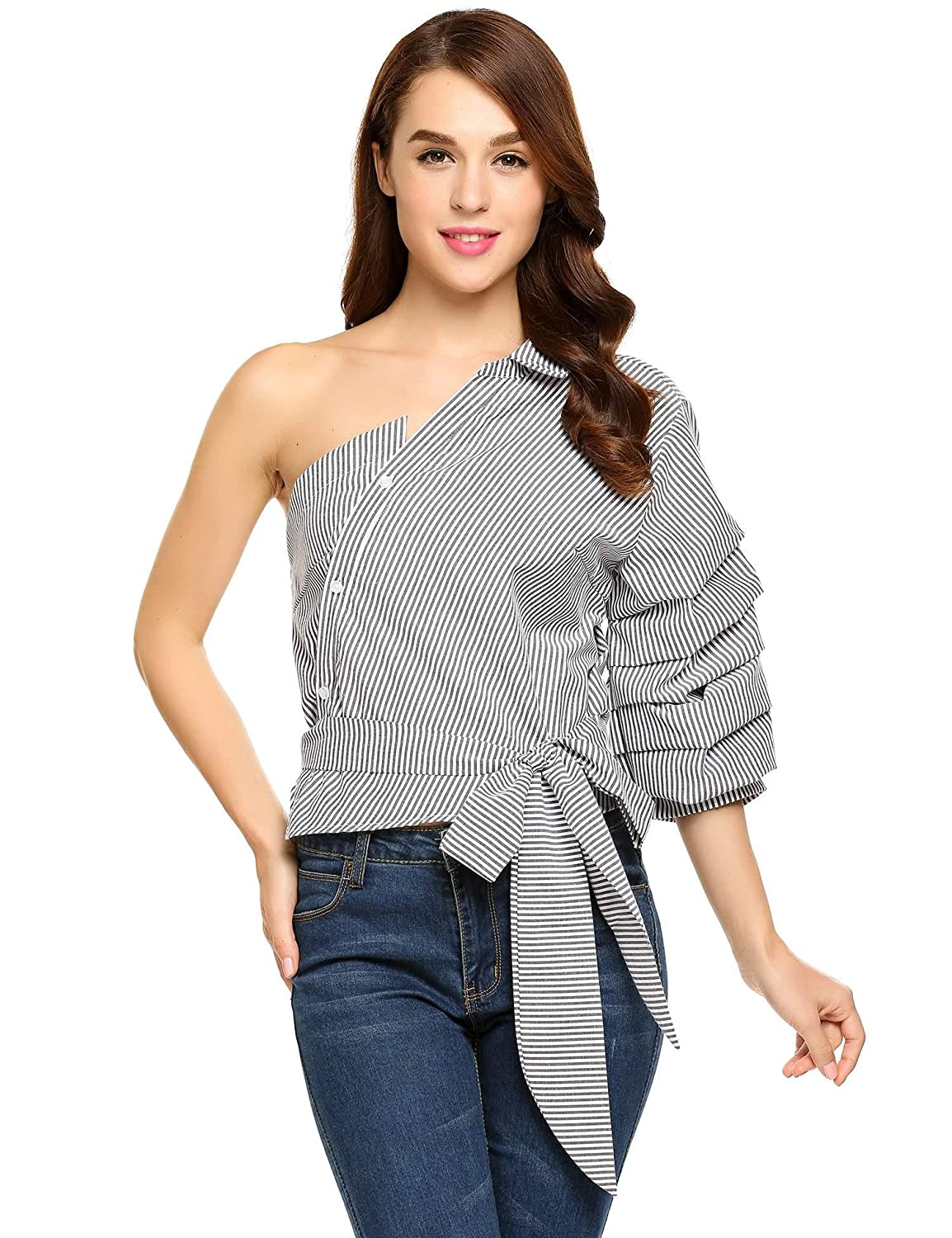 cd16669b06 Zeagoo Women Casual One Shoulder Blouse Waist Bow Top Puff Sleeve Striped  Shirt at Amazon Women's Clothing store: