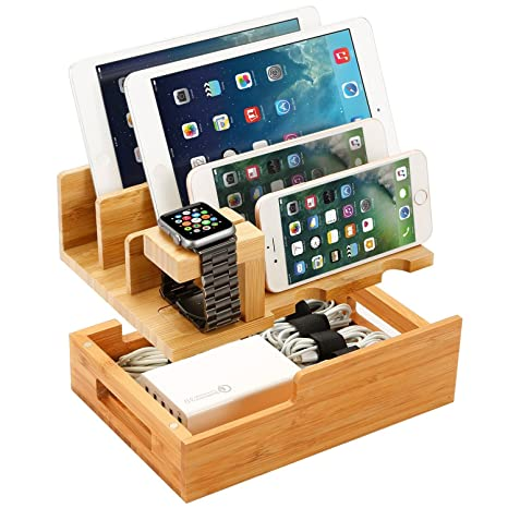 Charging Station For Multiple Devices Wood Dock Organizer Charging Station For Apple Watch, I Phone, I Pad, Universal Mobile Phones And Tablets, Compatible With Anker Ra Vpower 4/5/6 Port Usb Chagrer by L.Win