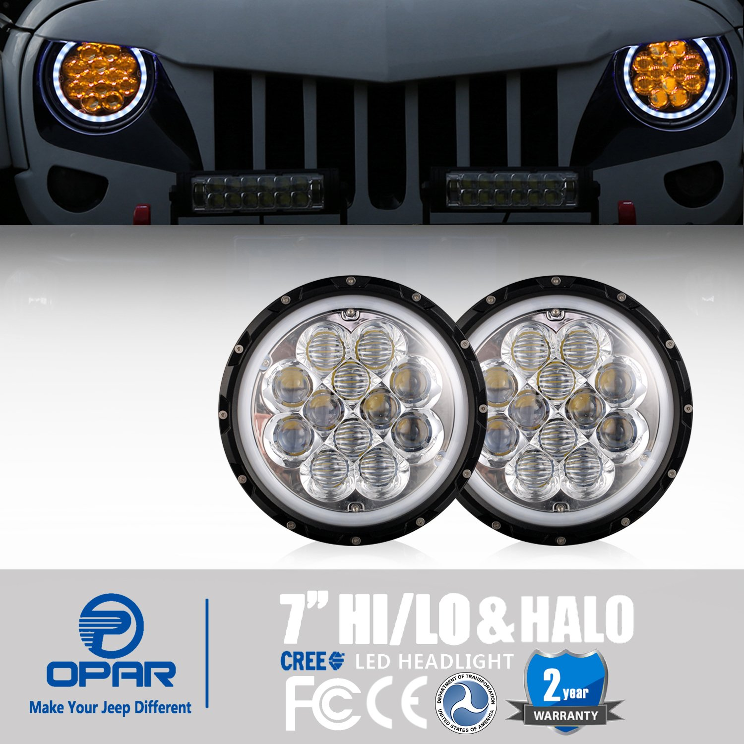 Hooke Road 7 Inch Amber Spider Drl Halo Led Headlights 1972 Jeep Truck Headlight Wiring For 97 18 Wrangler Tj Jk Unlimited Automotive