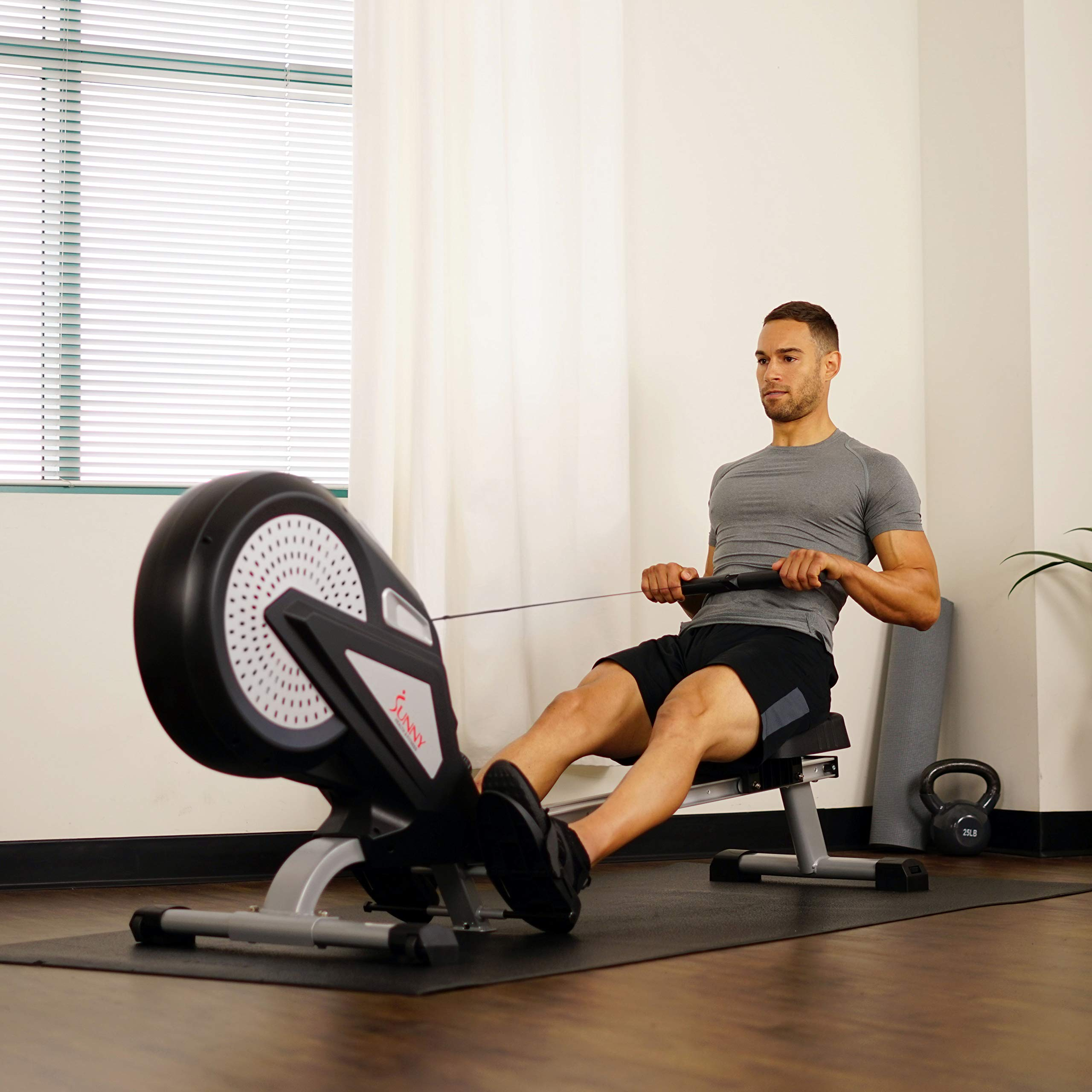 Sunny Health & Fitness Air Rower Rowing Machine w/ LCD Monitor, Dual Belt and Air Resistance SF-RW5623 by Sunny Health & Fitness (Image #11)