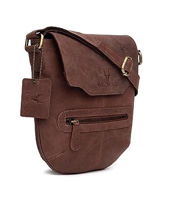 WildHorn 100% Genuine Leather Sling Messenger Bag (Brown) DIMENSION  L-  10inch 6f177325dcf05