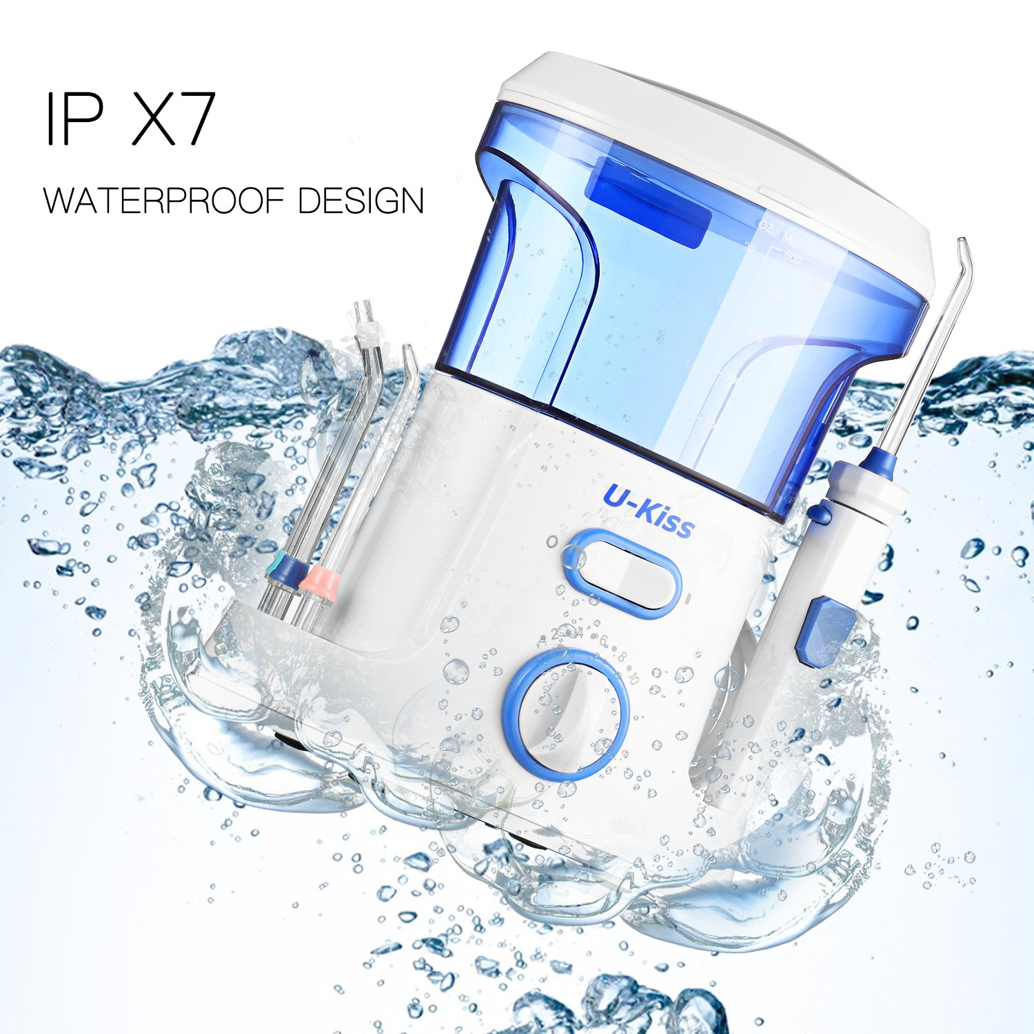 Water Dental Flosser, Dental Care Oral Irrigator with 10 Pressure Settings and 7 Interchangeable Nozzles for Deep Cleaning Between Teeth, Gumline, Braces and Bridges, Leak-Proof Electric Quiet Design