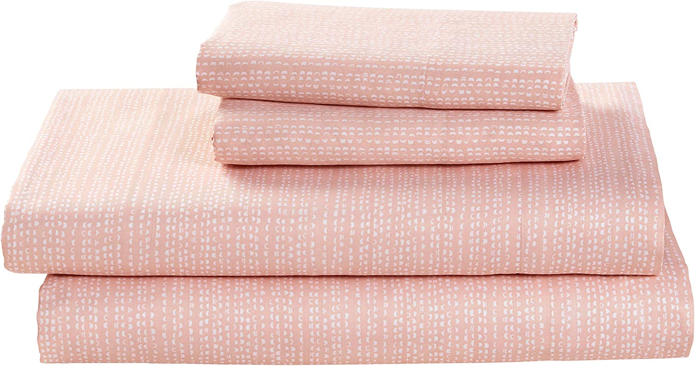 Amazon Brand – Rivet Half Moon Sateen 100% Cotton Bed Sheet Set, California King, Peach-Pink/White